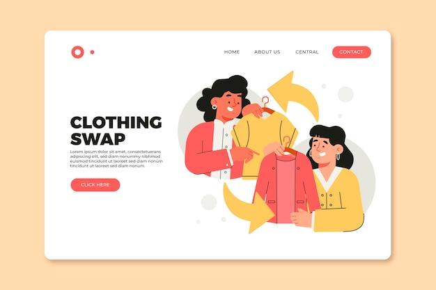 Page d'accueil de l'échange de vêtements dessinés à la main