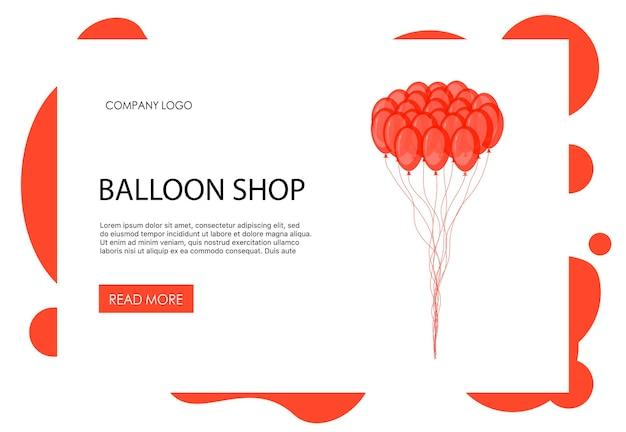 Page d'accueil modèle de saint-valentin avec des ballons. style de bande dessinée. illustration vectorielle.