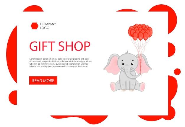Page d'accueil modèle de saint-valentin avec un éléphant mignon. style de bande dessinée. illustration vectorielle.