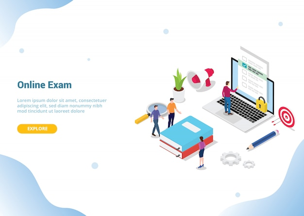 Page d'accueil de modèle de site web. examen en ligne ou concept de cours