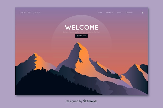 Page d'accueil avec paysage dégradé