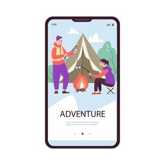 Page d'accueil pour l'illustration vectorielle plane de l'application de planification d'aventure et de voyage