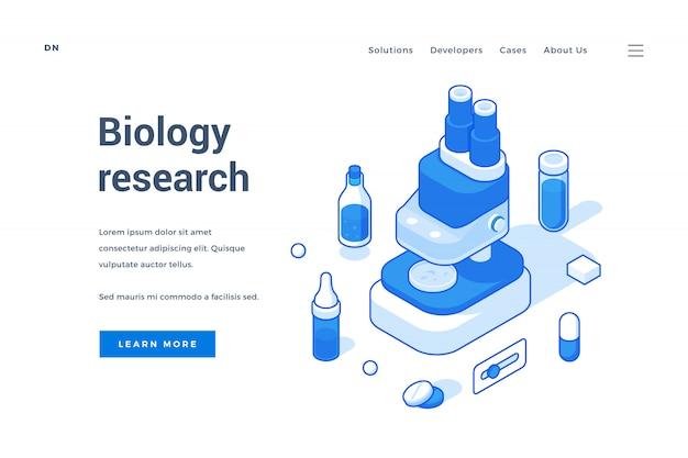 Page d'accueil d'une ressource internet moderne sur la recherche en biologie