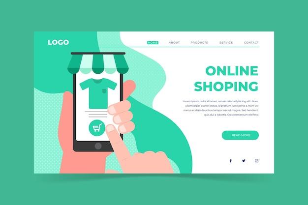 Page d'accueil de shopping en ligne style plat