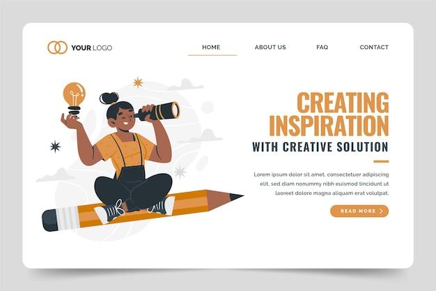 Page d'accueil des solutions créatives plates organiques