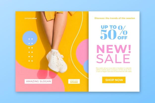 Page d'accueil de vente de mode avec photo