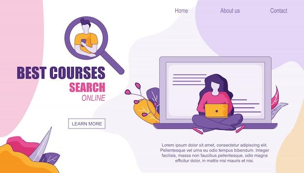 Page d'accueil web design recherche des meilleurs cours en ligne