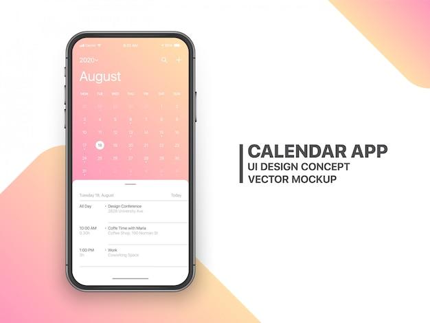 Page d'août du concept de l'interface utilisateur de l'application de calendrier