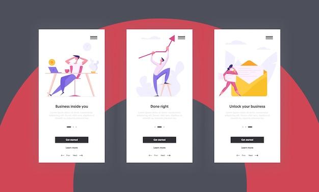 Page de l'application mobile du concept d'entreprise d'innovation