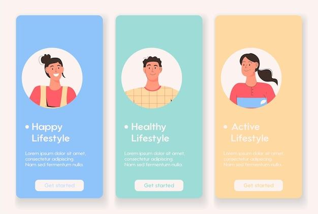 Page d'application mobile avec un mode de vie sain et actif heureux