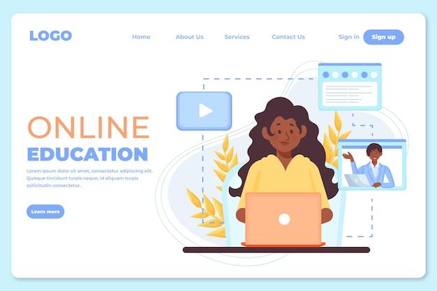 Page d'apprentissage en ligne dessinée à la main