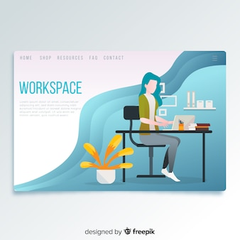 Page d'arrivée de l'espace de travail