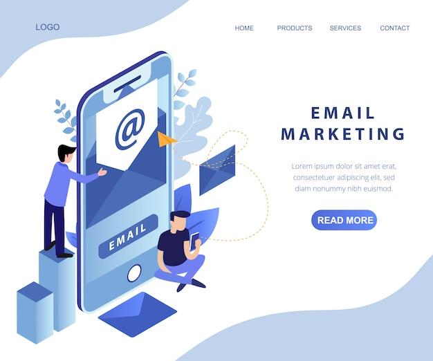 Page d'arrivée isométrique des services de marketing par courrier électronique