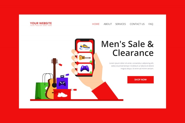 Page d'atterrissage des achats en ligne des hommes