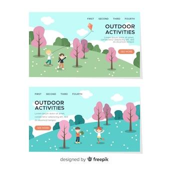 Page d'atterrissage d'activités de plein air