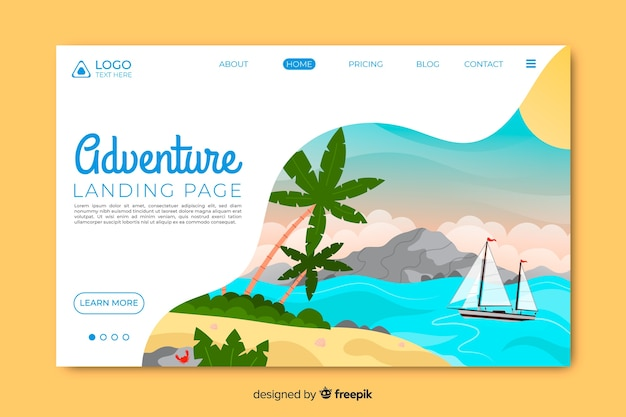 Page d'atterrissage d'aventure avec l'île