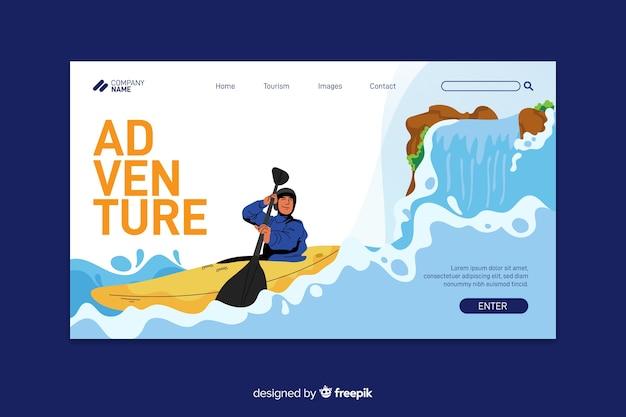 Page d'atterrissage d'aventure avec kayak