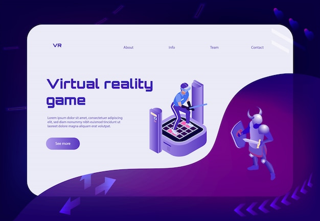 Page d'atterrissage de bannière de concept de réalité virtuelle isométrique avec des liens de personnages guerriers et bouton voir plus
