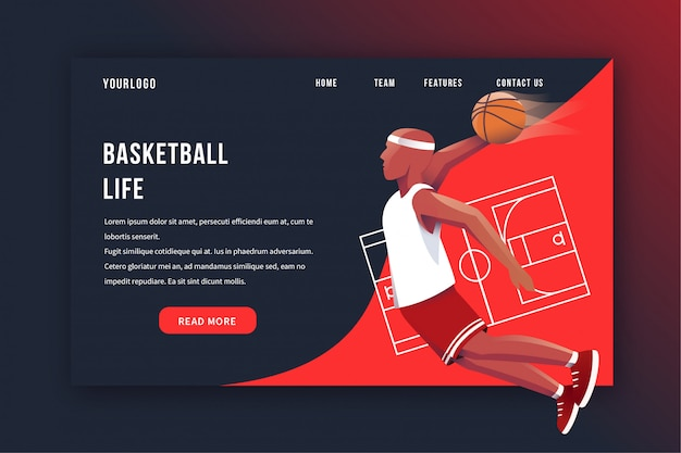 Page d'atterrissage de basket-ball
