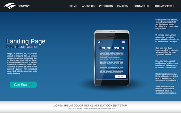 Page d'atterrissage bleue avec icône réaliste de smartphone
