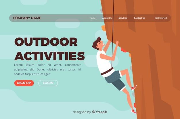 Page d'atterrissage avec concept d'activités de plein air