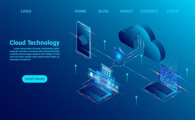 Page d'atterrissage avec le concept de cloud computing. technologie informatique en ligne. concept de traitement de gros flux de données, serveurs 3d et centre de données. design plat isométrique