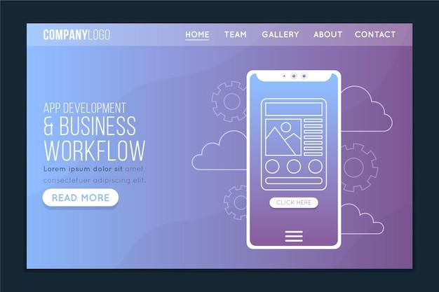 Page d'atterrissage avec le concept de smartphone