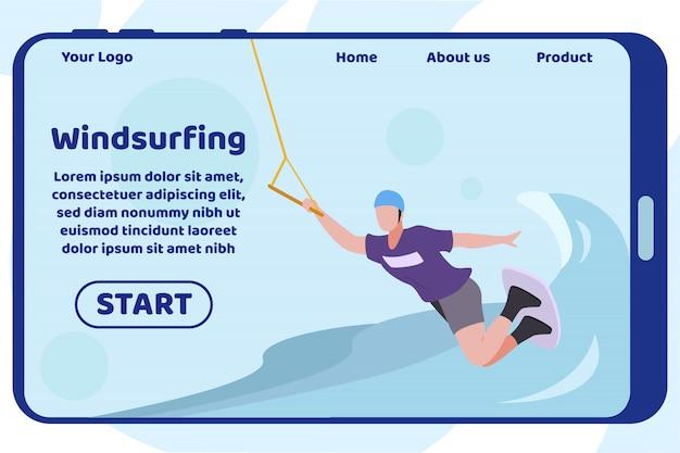 Page d'atterrissage de conception de planche à voile sur l'écran mobile