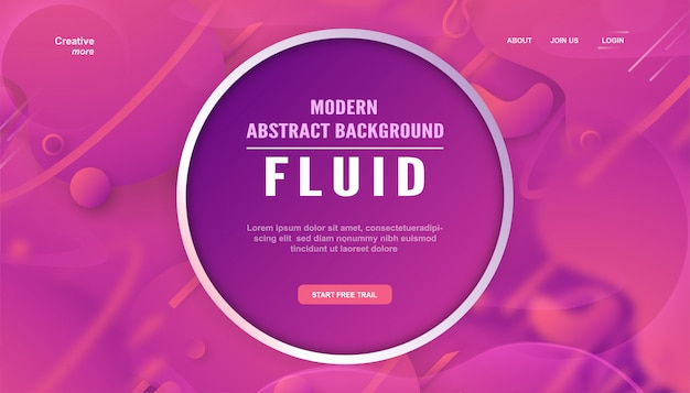 Page d'atterrissage dégradé abstrait moderne dans un style liquide et fluide.