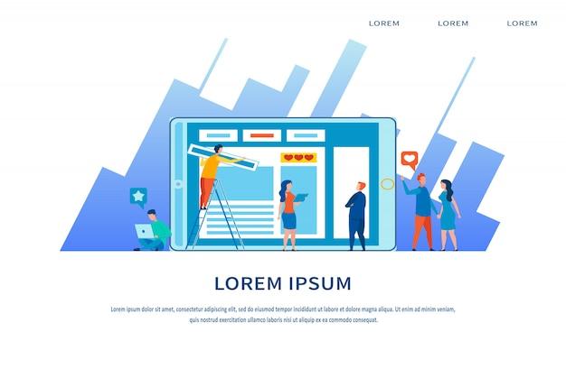 Page d'atterrissage du marketing multimédia et de la stratégie de contenu