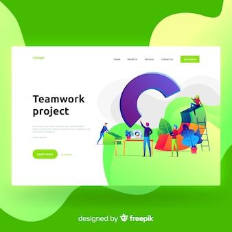 Page d'atterrissage du projet teamwork
