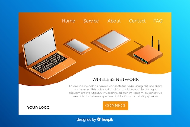 Page d'atterrissage du réseau sans fil isométrique