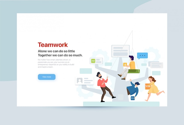Page d'atterrissage du travail d'équipe créative
