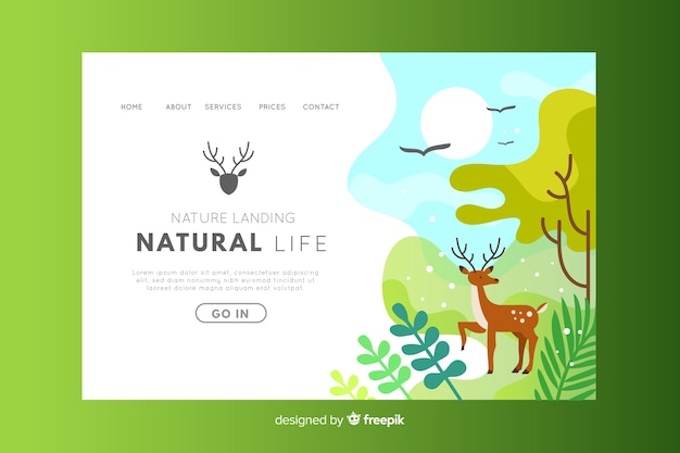 Page d'atterrissage de l'environnement de vie naturel