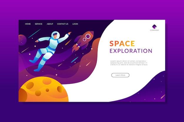 Page d'atterrissage d'exploration astronaute
