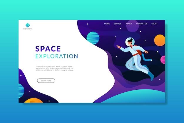 Page d'atterrissage d'exploration femme astronaute