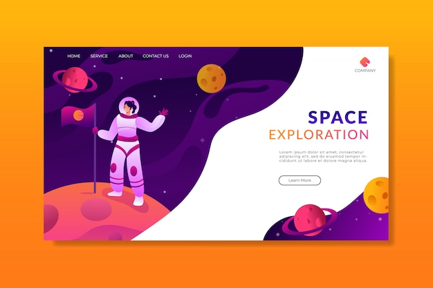 Page d'atterrissage de l'exploration d'une femme astronaute