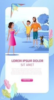 Page d'atterrissage de famille en plein air parti cartoon vector