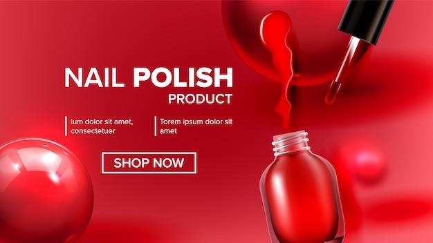 Page d'atterrissage de flacon de produit de vernis à ongles rouge