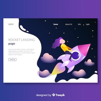Page d'atterrissage de fusée plate