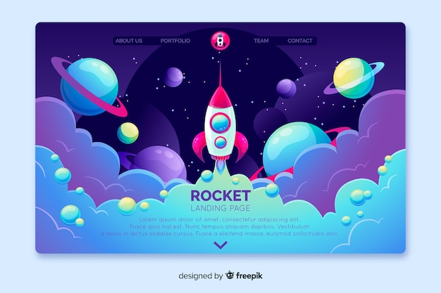 Page d'atterrissage de fusée