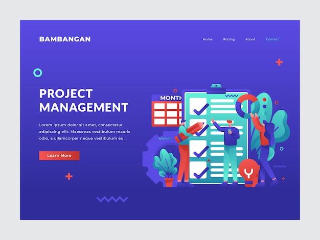 Page d'atterrissage de gestion de projet