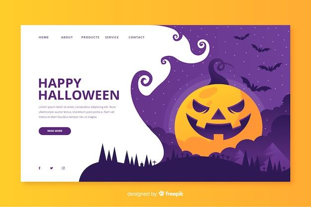 Page d'atterrissage d'halloween au design plat