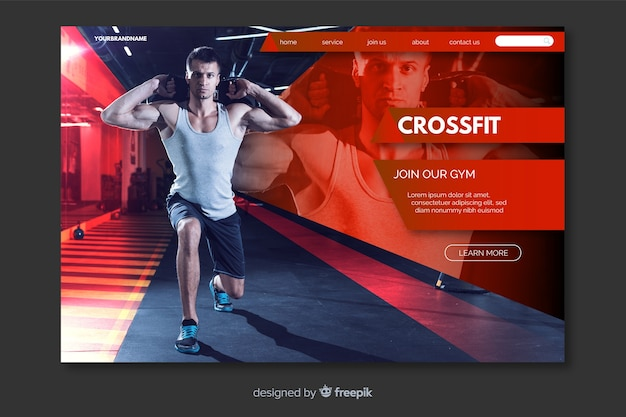 Page d'atterrissage homme crossfit avec photo