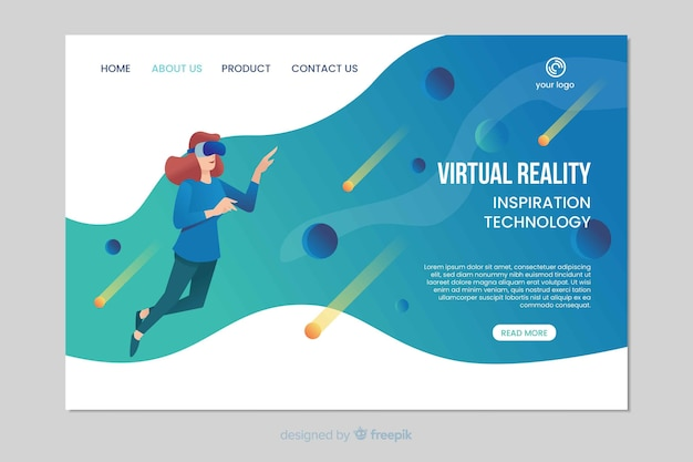 Page d'atterrissage d'inspiration de réalité virtuelle
