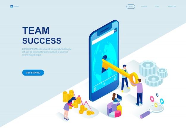 Page d'atterrissage isométrique au design plat moderne du succès de l'équipe