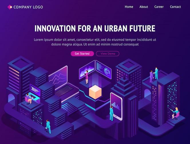 Page d'atterrissage isométrique de l'innovation pour le futur urbain