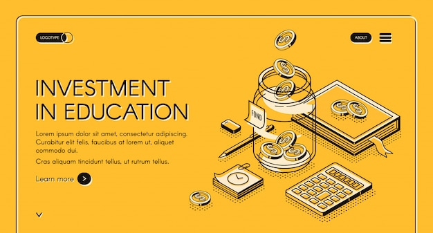 Page d'atterrissage isométrique de l'investissement dans l'éducation
