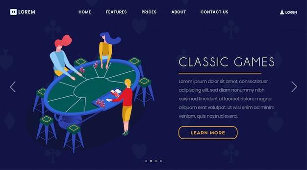 Page d'atterrissage isométrique de jeux de cartes de casino