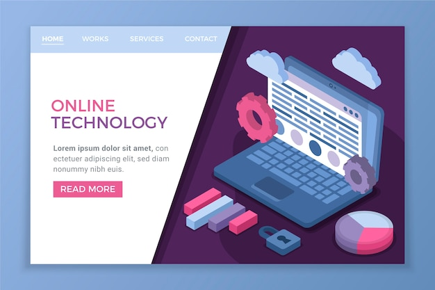 Page d'atterrissage isométrique de la technologie en ligne